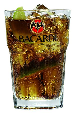 English: Bacardi cuba libre served in Bacardi ...