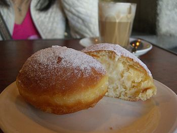 Custard-filled doughnut served by Il Fornaio, ...