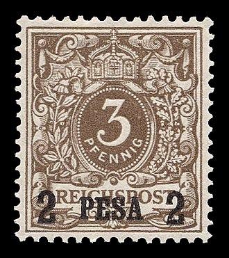 Postage stamps and postal history of German East Africa - German stamp surcharged in pesa for use in German East Africa, 1893.