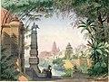 Davanti al tempio di Indra, a Lahore. In lontananza, su un'altura, giardini ed edifici della città. Ultime ore del giorno, bozzetto di Augusto Ferri per Il Re di Lahore (1878) - Archivio Storico Ricordi ICON002540.jpg