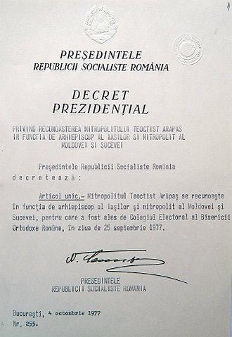 Orthodox Church in Communist Romania - 1977 presidential decree signed by Nicolae Ceaușescu recognizing Teoctist Arăpașu as Metropolitan of Moldavia