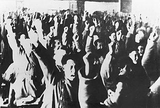 Inner Mongolia - Delegates of Inner Mongolia People's Congress shouting slogans
