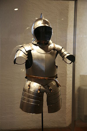 Almain rivet - Almain rivet half-armour, typically worn by Swiss or landsknechts  in the 16th century. The tassets consist of five plates each, connected by sliding rivets.