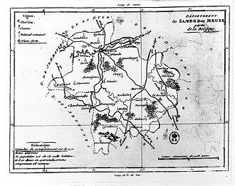 Sambre-et-Meuse - Map of the former Sambre-et-Meuse département