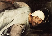 Detail of a painting. A man with no eyes and a white hat stumbles.
