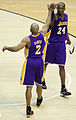 Derek Fisher high fives Kobe Bryant.jpg