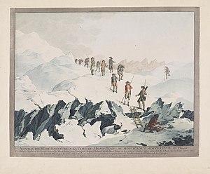 Horace-Bénédict de Saussure - Christian von Mechel, Descent from Mont-Blanc in 1787 by H.B. de Saussure, copper engraving; collection of Teylers Museum, Haarlem