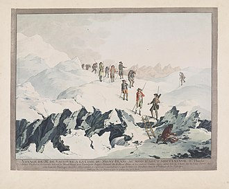 Descent from the Mont Blanc in 1787 by H.B. de Saussure Copperplate engraving, by Christian von Mechel Descent from Mont-Blanc in 1787.jpg