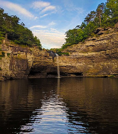 Desoto Falls in Mentone. Named after 16th-century explorer, Hernando de Soto. DesotoFallsAl.jpg