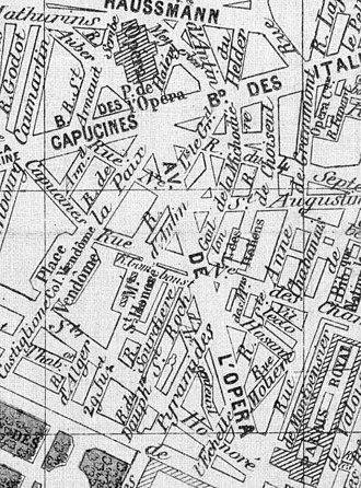 Avenue de l'Opéra - 1877 map, when nearly completed