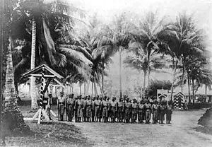 New Britain - Native recruits during drill in German New Guinea, 1910