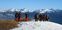 Dhauladhar ranges in the background- Trekkers resting a bit I IMG 7165.jpg