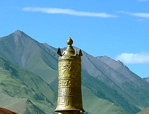 Dhvaja -  Dhvaja ('victory banner'), on the roof of Sanga Monastery.