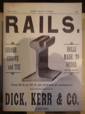Dick, Kerr & Co. - Image: Dick, Kerr & Co. rail ad March 1896 SFRM