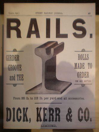 Dick, Kerr & Co. - Image: Dick, Kerr & Co. rail ad March 1896 SFRM