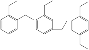 Diethylbenzenes - The three isomers of diethylbenzene: ortho-, meta-, and para-diethylbenzene (left to right)