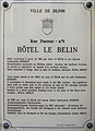 Dijon Hotel LE BELIN plaque information 02.jpg