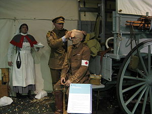 Army Medical Services Museum - World War I casualty in a diorama at the Museum.