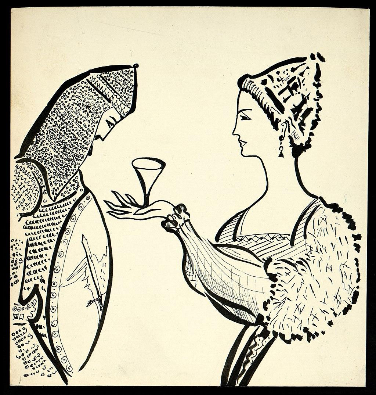 1024px Disegno per copertina di libretto%2C disegno di Peter Hoffer per Tristano e Isotta %28s.d.%29   Archivio Storico Ricordi ICON012467 - Cultura literária medieval (2)