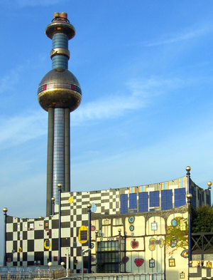 Incineration - The Spittelau incineration plant in Vienna, Austria, designed by Friedensreich Hundertwasser
