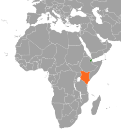 Map indicating locations of Djibouti and Kenya