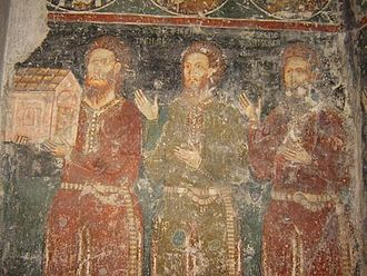 Metropolitanate of Dabar-Bosna - Patrons of Dobrun Monastery, fresco painting from 14th century