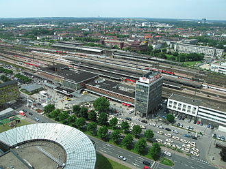 Dortmund Hauptbahnhof - Dortmund Hauptbahnhof from the RWE Tower