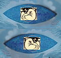 Double Vesica Pisces with Jonah son of Amitai MixMedia by Carmela Tal Baron 2003.jpg