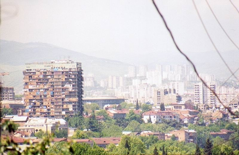 Downtown Tbilisi, Georgia, in the forefront Hotel Iveria, May 2002