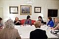 Dr. Jill Biden, Michelle Obama and Patricia Shinseki discuss the Military Families Campaign, 2011.jpg