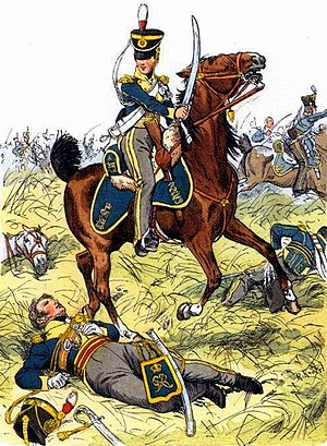 Battle of Navas de Membrillo - British Light Dragoons during a charge, by Richard Knötel. The 13th Light Dragoons was present with two squadrons at the battle of Navas de Membrillo, on 29 December 1811.