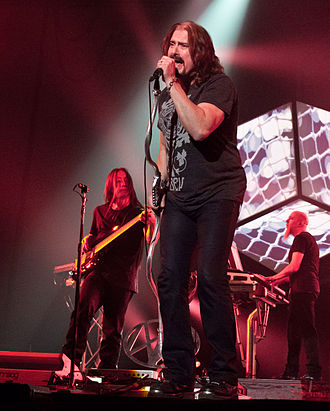 Dream Theater - Concert of the A Dramatic Tour of Events in 2012. LaBrie in the foreground; Myung and Rudess in the background.