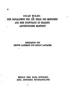 oscar wilde socialism essay