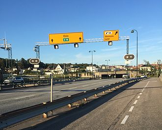 Kristiansand Region - E18 in Kristiansand with the exit to Vennesla