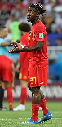 0792cefbb ENG-BEL (26).jpg. Batshuayi playing for Belgium in 2018