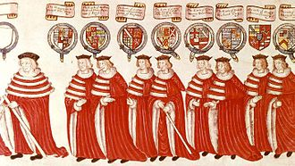 Robes of the British peerage - Peers in their robes at the State Opening of Parliament, 4 February 1512. Left to right: the Lord Chamberlain, a Marquess, with white rod of office, several Earls