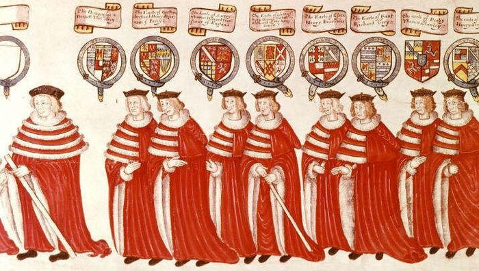 The royal procession to Parliament at Westminster, 4 February 1512. Left to right: The Marquess of Dorset, Earl of Northumberland, Earl of Surrey, Earl of Shrewsbury, Earl of Essex, Earl of Kent, Earl of Derby, Earl of Wiltshire. From: Parliament Procession Roll of 1512. Earls Procession to Parliament.jpg