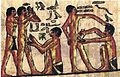 Egyptian Doctor healing laborers on papyrus.jpg