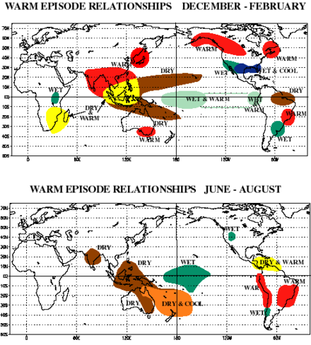 Regional impacts of warm ENSO episodes (El Nino) El Nino regional impacts.png