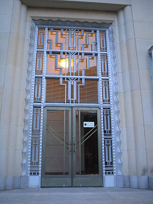 Eldon B. Mahon United States Courthouse - Art Deco detailing of a door