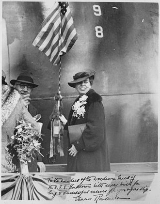 USS Yorktown (CV-5) - Eleanor Roosevelt christens Yorktown (4 April 1936)
