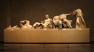A few of the Elgin Marbles (also known as the Parthenon Marbles) from the East Pediment of the Parthenon in Athens. Elgin Marbles east pediment.jpg