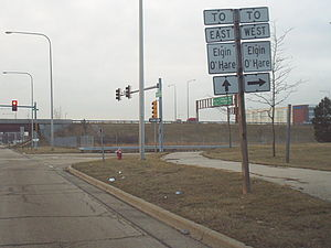Illinois Route 390 - Markers for the Elgin-O'Hare Expressway on Wright Boulevard in Schaumburg