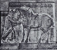 A bas-relief of a soldier and horse with elaborate saddle and stirrups, from the tomb of Emperor Taizong, c. 650.