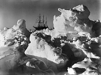 Frank Hurley, As time wore on it became more and more evident that the ship was doomed (Endurance trapped in pack ice), National Library of Australia. Endurance trapped in pack ice.jpg