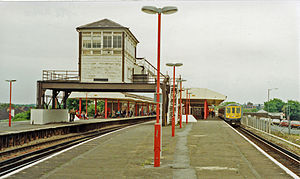 Epsom railway station - View north east from the west end of the down platform with signal box in 1991