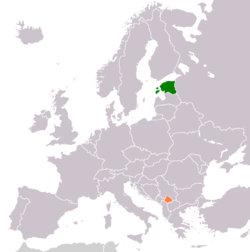 Map indicating locations of Estonia and Kosovo