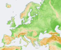 Topographic map of Europe