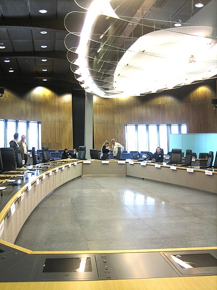 Interior of the new Berlaymont, shown here is the Commission's meeting room on floor 13. European Commission Room (Open Day) 1.jpg