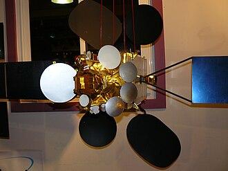 Eutelsat - 1/10 scale mockup of a Eutelsat W3 satellite, a Spacebus 4000C3 Image does NOT show W3B (for comparison actual W3B Photo)